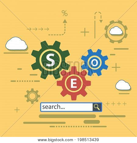 Website of the SEO optimization. Analytics search information. Flat infographics. Stock vector icon illustration.