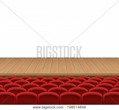 Theatrical stage with red sits vector illustration