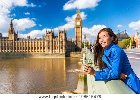 London Big Ben tourist woman drinking green detox smoothie. Healthy businesswoman on Westminster Bridge with Big Ben background, London Europe destination, England, Great Britain