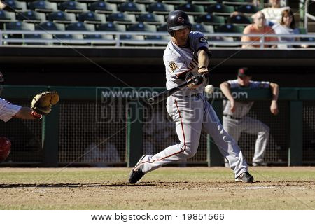 MESA, AZ - NOV 20: Ryan Rohlinger of the Scottsdale Scorpions swings at a pitch in the Arizona Fall League game with the Mesa Solar Sox on November 20, 2008 in Mesa, Arizona.