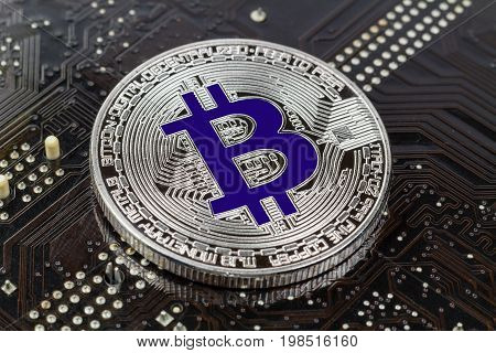 Silver Bitcoin On The Black Background Closeup. Cryptocurrency Virtual Money