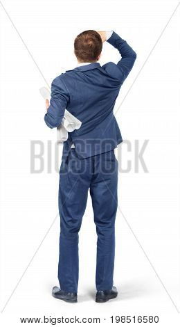 Man in suit with blueprints isolated on white background