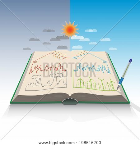 Renewable energy symmetry in book concept, vector illustration
