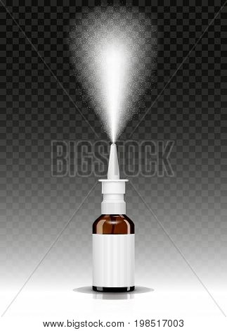 nasal spray bottle while spraying isolated vector