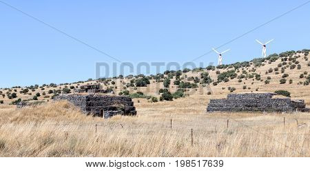 Combat bunkers left from the time of the War of the Doomsday (Yom Kippur War) on the Golan Heights near the border with Syria Israel
