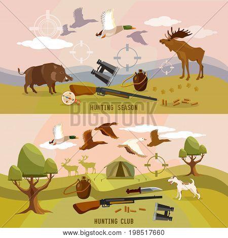 Hunting sport hunting for ducks elk boar. Ammunition binoculars beginning of autumn hunting banners
