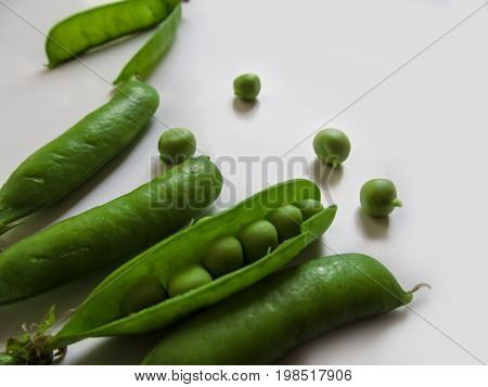 Abstract natural background - pea pods with peas close-up on a white background. Green young juicy pea pods lie in the bottom corner of the photo and small spherical seeds are scattered between them