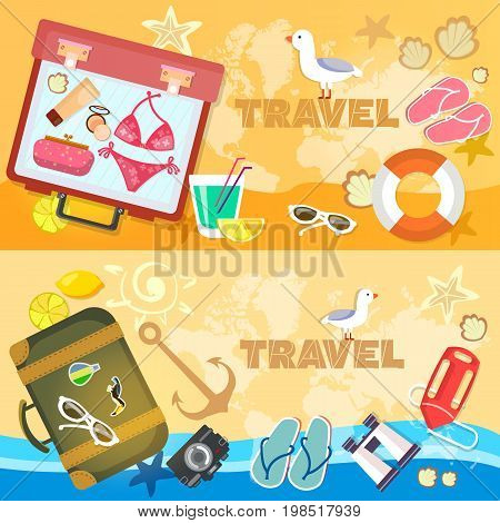 Travel banners sea beach summer holiday travel suitcase passport flip flops. Adventure vacation travel to summer