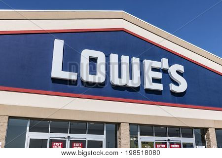 Kokomo - Circa August 2017: Lowe's Home Improvement Warehouse. Lowes operates retail home improvement and appliance stores in North America IX