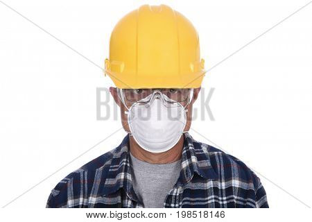 Closeup Construction Worker wearing protective gear, helmet and goggles.