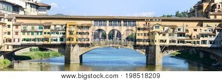 Famous Bridge Of Ponte Vecchio In Florence On Italy.