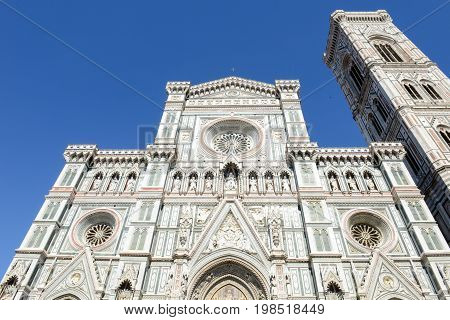 Firenze Italy - 5 July 2017: Cathedral of Saint Mary of Flower and Giotto's belltower in Florence on Italy.