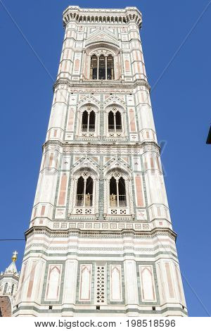 Firenze Italy - 5 July 2017: Giotto's belltower of the Cathedral in Florence Italy.