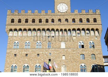 Firenze Italy - 5 July 2017: Palazzo Vecchio the town hall of Florence on Italy.