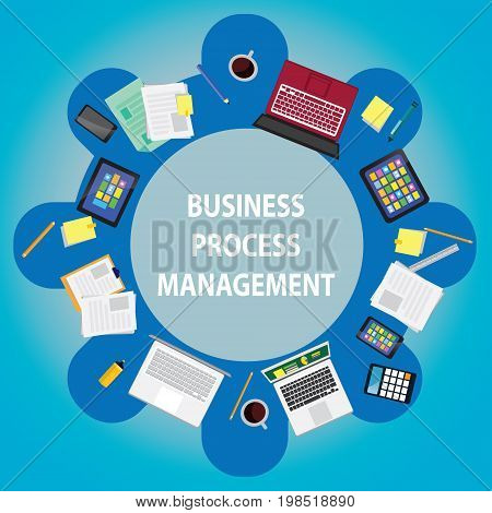 Vector illustration. Top view business process management concept. Working desk in circle shape showing laptop papers notes tablets cell phones from above symbol of process planning discussion strategy goals team work
