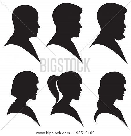 Vector illustration. Head silhouette of man and woman in black color isolated on white. Side view profile avatar