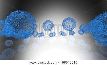 3D Rendering. The Model Virus In The Form Of Balls
