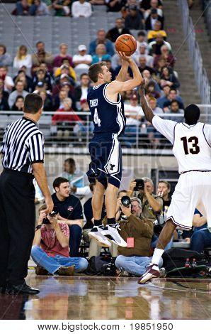 GLENDALE, AZ - DECEMBER 20: Emery Jackson #4 of Brigham Young University shoots over James Harden #13 of Arizona State during the basketball game on December 20, 2008 in Glendale, Arizona.