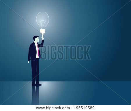 Vector illustration. Business idea concept. Businessman holding idea light bulb to lighten his way in darkness. Future vision direction development goal success