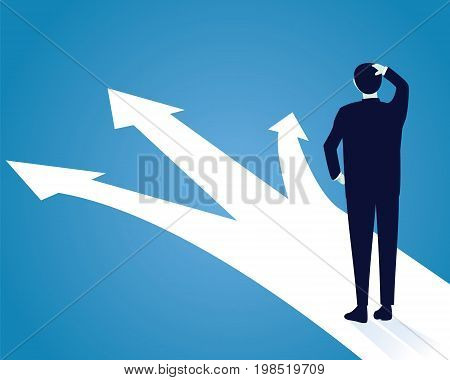 Vector illustration. Business decision concept. Businessman confuse to choose the right direction. Future direction development goal success