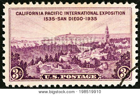 USA - CIRCA 1935: A stamp printed in USA issued for the California Pacific International Exposition, San Diego shows Exhibition Grounds, Point Loma and San Diego Bay, circa 1935.