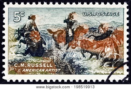 USA - CIRCA 1964: A stamp printed in USA issued for the birth centenary of artist Charles Marion Russell shows Jerked Down, circa 1964.