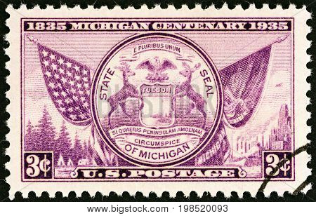 USA - CIRCA 1935: A stamp printed in USA issued for the Michigan Centenary shows Seal of Michigan, circa 1935.