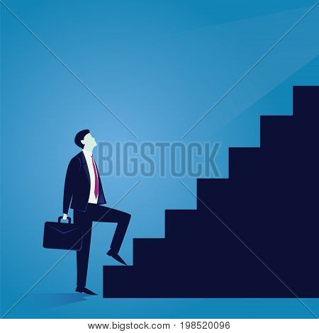Vector illustration. Business journey concept. Future success. first step. Businessman start climbing stair for success career work job achievement development growth progress vision future