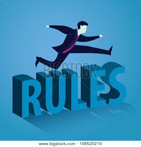 Vector illustration. Businessman jumping over the rules. Breaking the rules concept