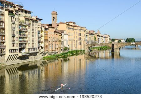 River Arno At Florence On Italy.