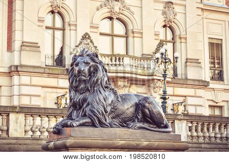 Castle in Pszczyna Town in Poland. An ornament in the form of a lion in front of a castle facade.