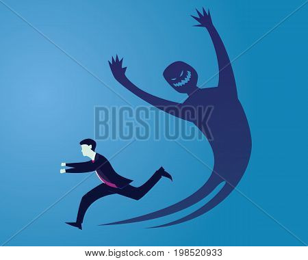 Vector illustration. Businessman running away afraid of his own inner evil monster shadow