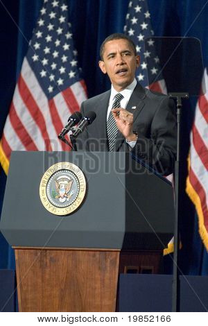 MESA, AZ - FEBRUARY 18: President Barack Obama speaks about the home mortgage crisis at Dobson High School on  February 18, 2009 in Mesa, AZ.