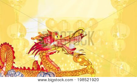 Chinese new year dragon with lanterns in china town.