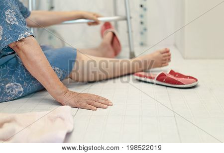 elderly falling in bathroom because slippery surfaces .