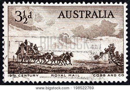 AUSTRALIA - CIRCA 1955: A stamp printed in Australia shows Cobb & Co. Coach (from etching by Sir Lionel Lindsay), circa 1955.
