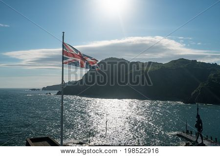 Coastline of the estuary into the old harbour of Ilfracombe in North Devon, England