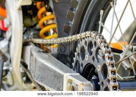 Chain and sprocket of motocross bike .