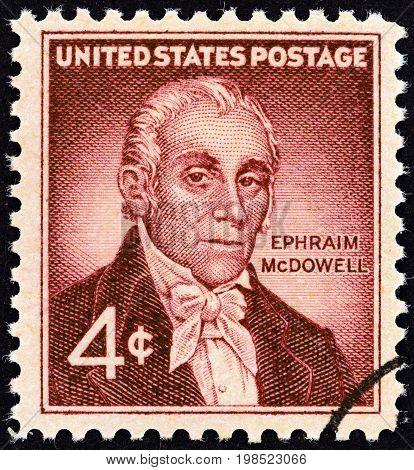 USA - CIRCA 1959: A stamp printed in USA shows Dr. Ephraim McDowell, circa 1959.