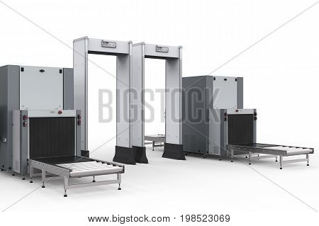 3d rendering airport security checkpoint with security gates and scanner machine