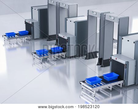 3d rendering empty trays on scanner machine at airport security checkpoint