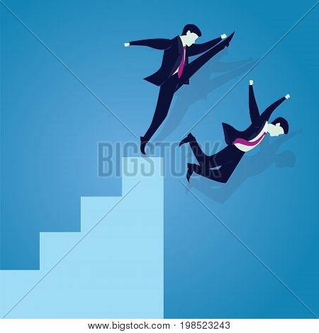 Vector illustration. Bad business competition concept. A businessman kicking to make his rival falling down from the top ladder of success