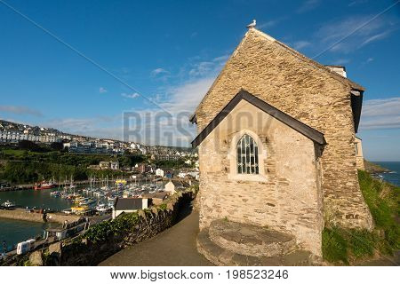 St Nicholas Chapel on the headland above the old harbour of Ilfracombe in North Devon, England