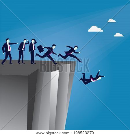 Vector illustration. Bad business Leadership concept. A Leader pointing wrong direction and make his employees running in confusion and falling down the cliff