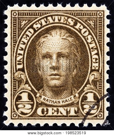 USA - CIRCA 1925: A stamp printed in USA shows Nathan Hale, circa 1925.