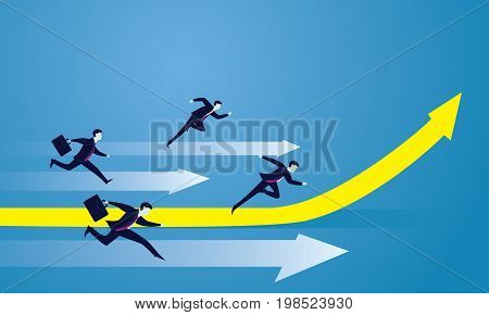 Vector illustration. Business competition concept. Businessmen racing forward to success on running track. One leader on highlighted up arrow