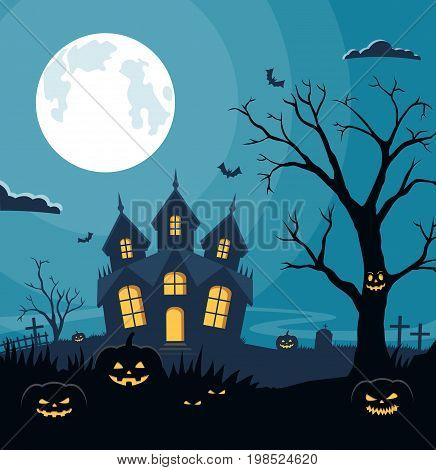 Halloween background with pumpkins and scary castle on graveyard. Invitation card on celebration Halloween. Vector illustration.