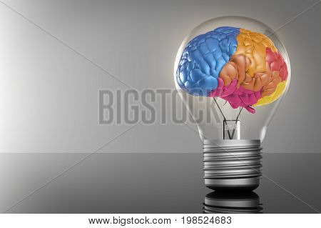 Creative Idea With Colourful Brain