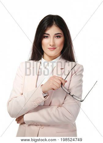 Young beautiful woman on white background