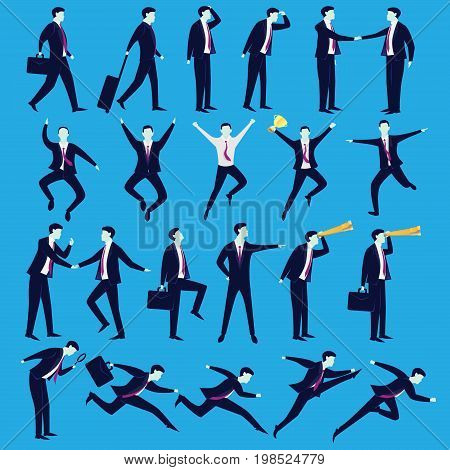 Business People Vector illustration. Set collection of businessmen in various position of pose cartoon silhouette character